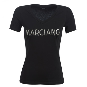 Textil Mulher T-Shirt mangas curtas Marciano LOGO PATCH CRYSTAL Preto
