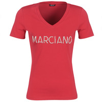 Textil Mulher T-Shirt mangas curtas Marciano LOGO PATCH CRYSTAL Vermelho