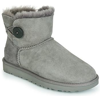 Sapatos Mulher Botas baixas UGG MINI BAILEY BUTTON II Cinza