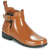 Sapatos Mulher Botas de borracha Hunter REFINED GLOSS QUILT CHELSEA Camel
