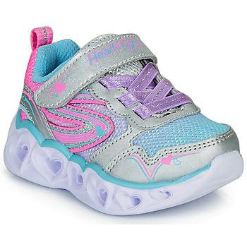 Sapatos Rapariga Sapatilhas Skechers HEART LIGHTS Prata / Rosa