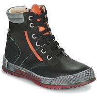 Sapatos Rapaz Botas baixas Achile MANUEL Preto / Laranja