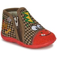 Sapatos Rapaz Chinelos GBB NEREO Vermelho / Castanho