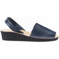 Sapatos Sandálias Huran Sandalias Menorquinas Cuña Marino Azul