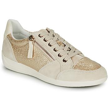 Sapatos Mulher Sapatilhas Geox MYRIA Ouro / Creme