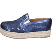 Sapatos Mulher Alpargatas Olga Rubini slip on blu tessuto paillettes BS110 Blu