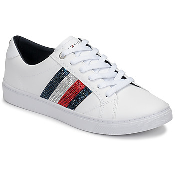Sapatos Mulher Sapatilhas Tommy Hilfiger CRYSTAL LEATHER CASUAL SNEAKER Branco