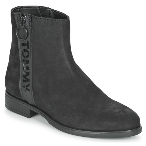 Sapatos Mulher Botas baixas Tommy Jeans TOMMY JEANS ZIP FLAT BOOT Preto