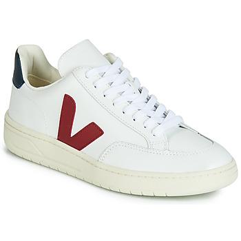 Sapatos Sapatilhas Veja V-12 LEATHER Branco / Azul / Vermelho