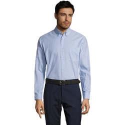 Textil Homem Camisas mangas comprida Sols BOSTON STYLE OXFORD Azul