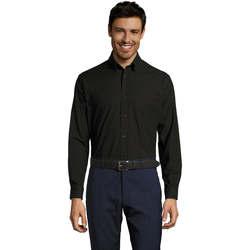 Textil Homem Camisas mangas comprida Sols BOSTON STYLE OXFORD Negro