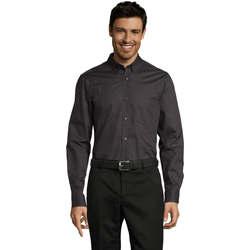 Textil Homem Camisas mangas comprida Sols BUSSINES MEN Gris