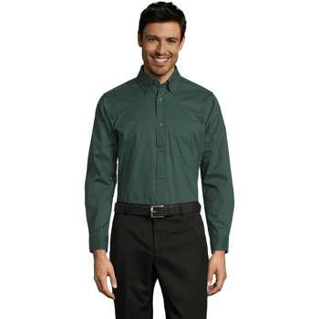 Textil Homem Camisas mangas comprida Sols BEL-AIR TWILL MEN Verde