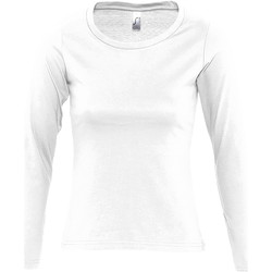Textil Mulher T-shirt mangas compridas Sols MAJESTIC Blanco