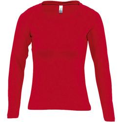 Textil Mulher T-shirt mangas compridas Sols MAJESTIC COLORS GIRL Rojo