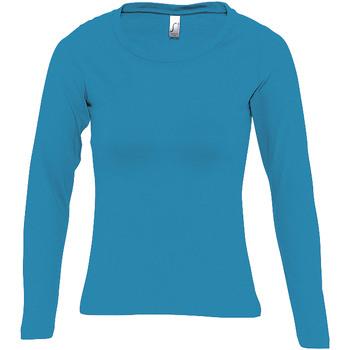 Textil Mulher T-shirt mangas compridas Sols MAJESTIC COLORS GIRL Azul