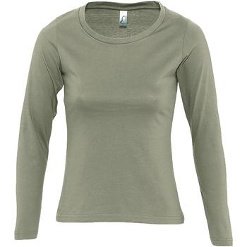 Textil Mulher T-shirt mangas compridas Sols MAJESTIC COLORS GIRL Verde
