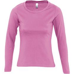 Textil Mulher T-shirt mangas compridas Sols MAJESTIC COLORS GIRL Rosa