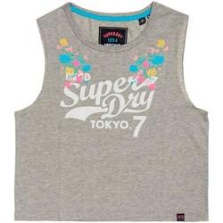 Textil Mulher T-Shirt mangas curtas Superdry TOKYO 7 FLORAL TANK cinza