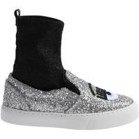 Sapatos Mulher Sapatilhas de cano-alto Chiara Ferragni CF 2094 SILVER-BLACK argento