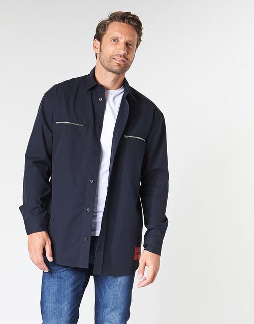 Textil Homem Camisas mangas comprida HUGO ETRUS Marinho