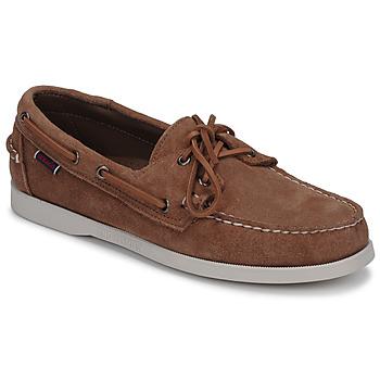 Sapatos Homem Sapato de vela Sebago DOCKSIDES PORTLAND SUEDE Camel