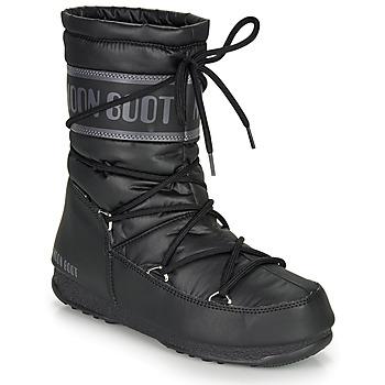 Sapatos Mulher Botas de neve Moon Boot MOON BOOT MID NYLON WP Preto