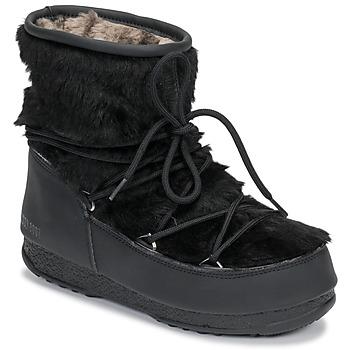 Sapatos Mulher Botas de neve Moon Boot MOON BOOT MONACO LOW FUR WP Preto