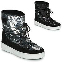 Sapatos Mulher Botas de neve Moon Boot MOON BOOT PULSE MID DISCO Preto / Brilhante