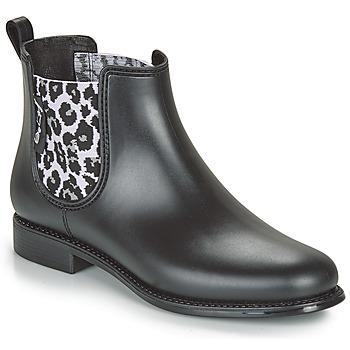 Sapatos Mulher Botas de borracha Be Only DAKAR Preto / Leopardo