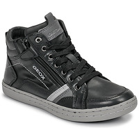 Sapatos Rapaz Sapatilhas de cano-alto Geox JR GARCIA BOY Preto / Cinza