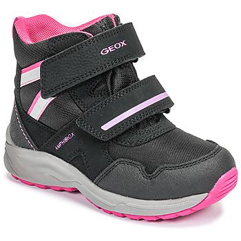Sapatos Rapariga Botas de neve Geox J KURAY GIRL B ABX Preto / Rosa