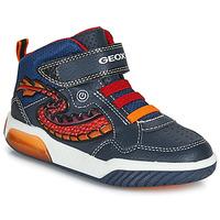 Sapatos Rapaz Sapatilhas de cano-alto Geox J INEK BOY Azul / Vermelho