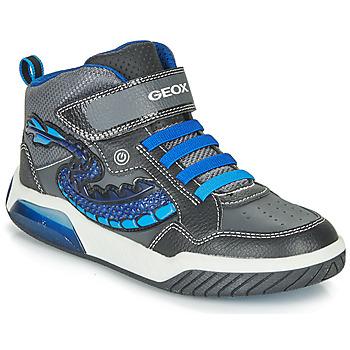 Sapatos Rapaz Sapatilhas de cano-alto Geox J INEK BOY Preto / Azul