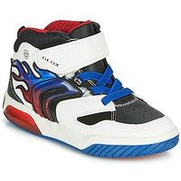 Sapatos Rapaz Sapatilhas de cano-alto Geox J INEK BOY Branco / Azul