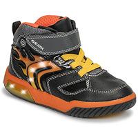 Sapatos Rapaz Sapatilhas de cano-alto Geox J INEK BOY Preto / Laranja