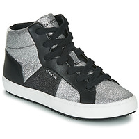 Sapatos Rapariga Sapatilhas de cano-alto Geox J KALISPERA GIRL Preto / Prateado
