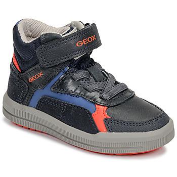 Sapatos Rapaz Sapatilhas de cano-alto Geox J ARZACH BOY Azul / Laranja