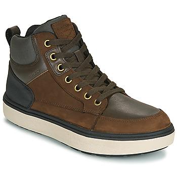 Sapatos Rapaz Sapatilhas de cano-alto Geox J MATTIAS B BOY ABX Café / Preto