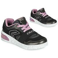 Sapatos Rapariga Sapatilhas de cano-alto Geox J XLED GIRL Preto / Rosa