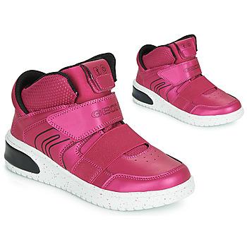 Sapatos Rapariga Sapatilhas de cano-alto Geox J XLED GIRL Rosa / Rosa fúchia  / Preto
