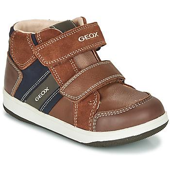 Sapatos Rapaz Sapatilhas de cano-alto Geox B NEW FLICK BOY Castanho / Azul