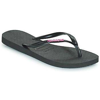 Sapatos Mulher Chinelos Havaianas SLIM LOGO METALLIC Preto