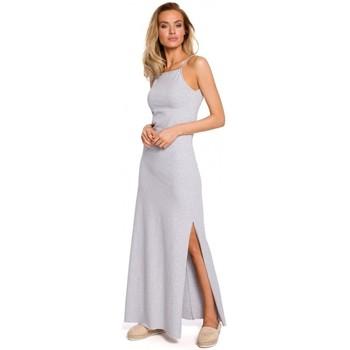 Textil Mulher Tops / Blusas Moe M432 Vestido Maxi de algodão com alças de esparguete - cinzento