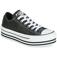 Sapatos Mulher Sapatilhas Converse CHUCK TAYLOR ALL STAR LAYER BOTTOM LEATHER OX Preto / Branco / Preto