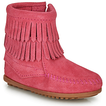 Sapatos Rapariga Botas baixas Minnetonka DOUBLE FRINGE SIDE ZIP BOOT Rosa