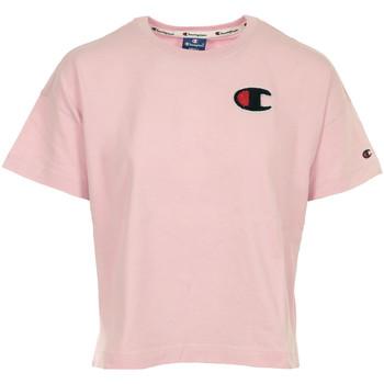 Textil Mulher T-Shirt mangas curtas Champion Crewneck T-shirt Cropped Rosa