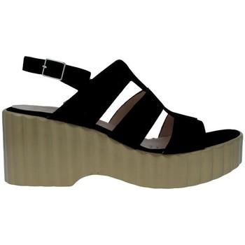 Sapatos Mulher Sandálias Wonders F-6705 Sandalias Con Plataforma de Mujer preto