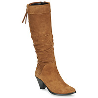 Sapatos Mulher Botas Regard RAKAFOU V2 CRTE VEL SILKY Camel