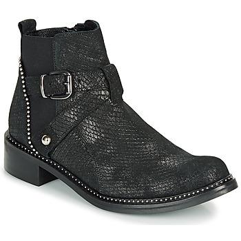 Sapatos Mulher Botas baixas Regard ROALA V1 CROSTE SERPENTE PRETO Preto